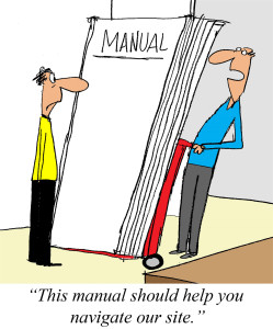 Cartoon of computer manual for business site