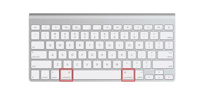 Mac keyboard with command keys outlined